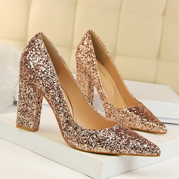 粗跟鞋子 高跟顯瘦尖頭鞋子 亮片夜店鞋《小師妹》sm585