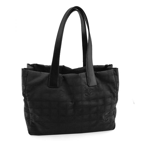 【奢華時尚】CHANEL BELL LINE 黑色雙C刺繡帆布肩背托特包(八五成新)#24996