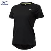MIZUNO 女裝 短袖 T恤 慢跑 路跑 吸汗快乾 反光燙印 反光織帶 透氣網布 黑【運動世界】J2TA120209