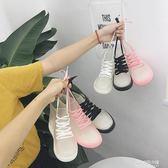 韓版學生時尚百搭透明短筒雨鞋女戶外防滑果凍膠鞋繫帶雨靴水鞋潮  朵拉朵衣櫥