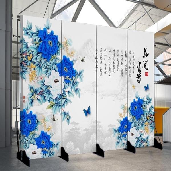 屏風 隔斷客廳簡約現代中式裝飾墻酒吧辦公室布藝移動實木玄關折屏