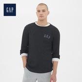 Gap男裝Gap徽標華夫格圓領長袖T恤525239-深煙灰色
