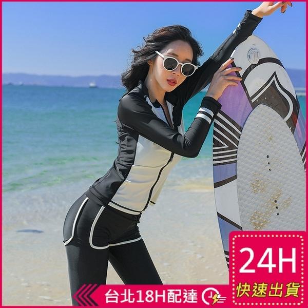 【現貨】梨卡長袖防曬五件式泳裝泳衣【黑色顯瘦+有胸墊】衝浪衣潛水衣多件式水母衣CR689