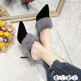 半拖鞋 毛毛拖鞋女夏外穿秋冬女士尖頭時尚細跟高跟包頭半拖鞋潮 【全館9折】