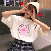 DE shop - 女學生可愛小豬寬鬆短袖T恤 - T-6210