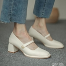 粗跟瑪麗珍鞋女復古2020新款赫本風中高跟方頭淺口單鞋女夏甜美 喜迎新春