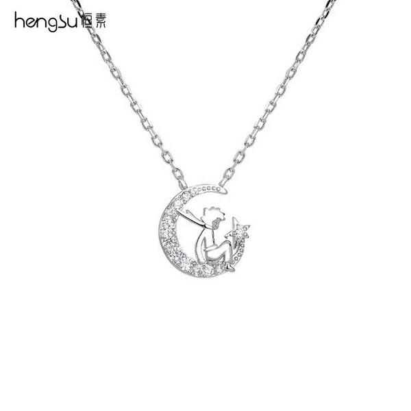 項鏈女夏純銀禮盒小王子項鏈女夏小眾設計感輕奢純銀鎖骨鏈星月吊