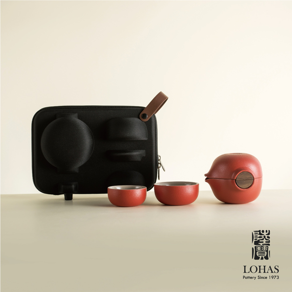 陸寶【喜從天降 】旅行茶器 一壺一海兩杯+時尚壺袋 熱銷茶禮