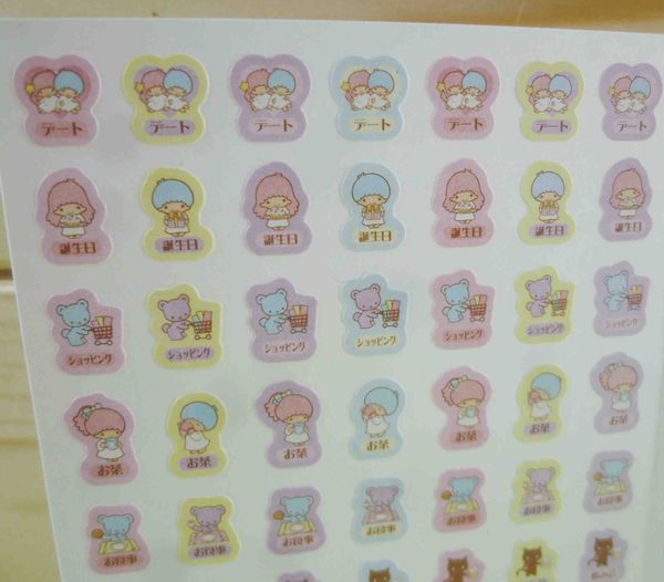 【震撼精品百貨】Little Twin Stars KiKi&LaLa 雙子星小天使~行事曆貼紙-牽手