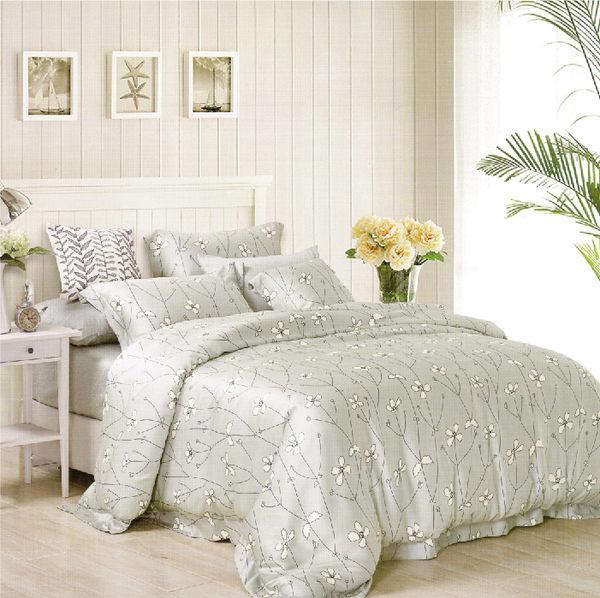 【Jenny Silk名床】簡單花愛.100%天絲.標準雙人床包組兩用鋪棉被套全套