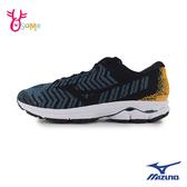 Mizuno男慢跑鞋 WAVE RIDER 美津濃跑步鞋 訓練鞋 輕量 耐磨運動鞋 I9214 藍黃◆OSOME奧森鞋業