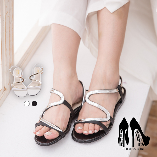 [Here Shoes] 台灣製 皮革金屬感S型 2CM坡跟涼鞋 2色─KT5066