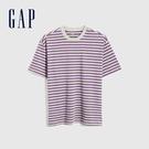 Gap男裝 厚磅密織系列碳素軟磨 基本款素色短袖T恤 735900-紫色條紋