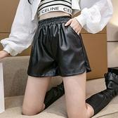 短褲休閒褲闊腿褲S-XL皮褲闊腿褲黑色靴褲T507A-8735.