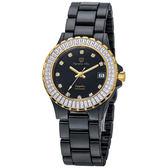 Olympia Star 奧林比亞之星 晶鑽陶瓷腕錶-黑/33mm
