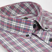 【金‧安德森】藍紅白格紋黑釘釦短袖襯衫