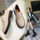 寬楦設計 手工真皮女鞋34~40 2020新款英倫風韓版方扣小皮鞋 德比鞋 低跟紳士鞋 ~2色