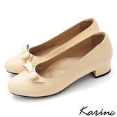 全真皮蝴蝶結粗低跟包鞋粉橘‧MIT  製‧karine