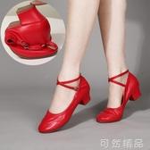 舞蹈鞋女廣場舞鞋子四季軟底紅色跳舞女鞋中老年中跟交誼舞鞋春夏 聖誕節鉅惠