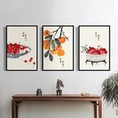 壁畫新中式客廳裝飾畫風水招財田園風沙發背景餐廳玄關中國風三聯墻畫