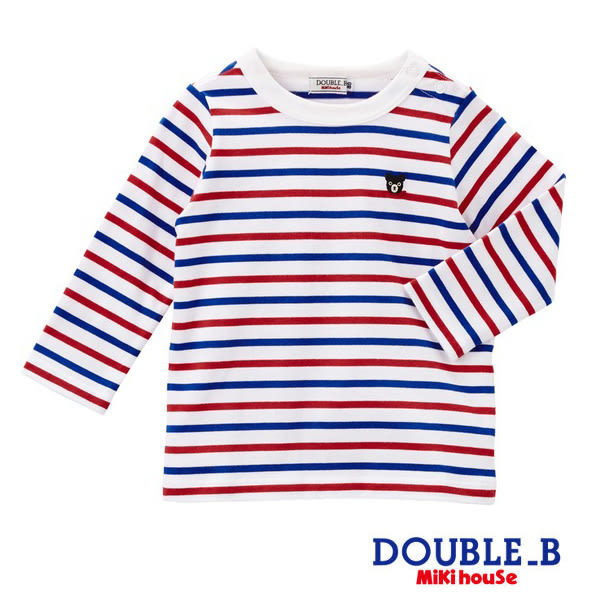 DOUBLE_B   Everyday經典條紋長袖T恤(紅&藏藍)