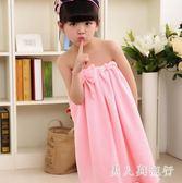 兒童浴袍女比棉質吸水小孩浴袍不掉毛可穿浴巾   XY3243  【男人與流行】