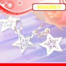 銀鏡DIY S925純銀材料配件/亮銀簍空勾花幸運五角星星墜C~適合手作蠶絲蠟線/衝浪繩(非合金)