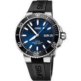 Oris豪利時 Aquis大視窗日曆星期潛水機械錶-藍x黑/45.5mm 0175277334135-0742464EB