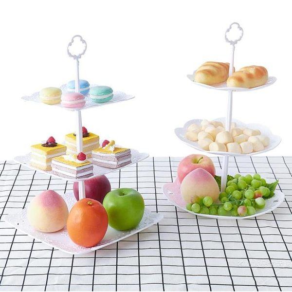 歐式三層蛋糕架生日多層甜品臺展示架家用干果水果盤下午茶點心盤 雙12購物節