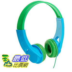 [106美國直購] AmazonBasics Volume Limited On-Ear Headphones for Kids - Blue Green