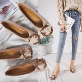 軟皮單鞋女溫柔鞋子新款秋淺口復古奶奶鞋