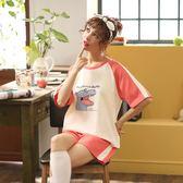 【預購款】居家服夏季新款睡衣套裝女短袖短褲甜美兩件套可外穿QT5518【時尚潮流部落】