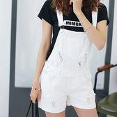 現貨-吊帶褲-學院風純色磨破牛仔吊帶短褲 Kiwi Shop奇異果0518【SZA6979】