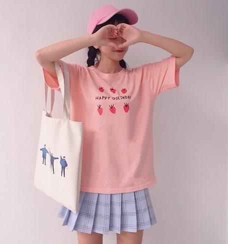 EASON SHOP(GU6583)甜美草莓印花英文字母圓領短袖T恤長版落肩五分袖女上衣素色白棉T恤韓版寬鬆