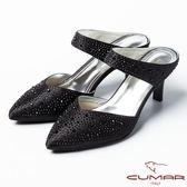 ★2015春夏★CUMAR復古奢華 鑲鑽扣環式高跟涼鞋-黑
