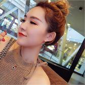 新款時尚鈦鋼蝴蝶結耳環女韓國名媛裝飾耳扣玫瑰金防過敏耳飾  無糖工作室