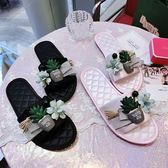 JY原創 時尚居家拖鞋女甜美花朵仙人掌平底一字拖綢緞防滑鞋牛筋吾本良品