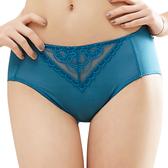 思薇爾-花緹系列M-XXL蕾絲中腰三角內褲(磚瓦藍)