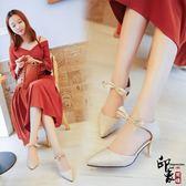正韓絨面系帶高跟涼鞋女淺口尖頭鞋細跟交叉綁帶鏤空單鞋