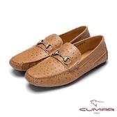 CUMAR雅痞時尚 鴕鳥紋牛皮帆船鞋-棕