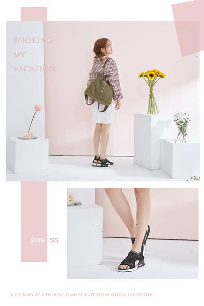 【CUMAR】悠遊輕井澤 -輕量化飛織布鑽飾運動風厚底涼鞋(黑)