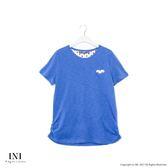 【INI】簡單設計、拼接點點竹節紋棉質上衣.藍色