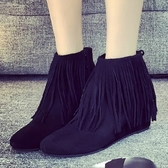 真皮短靴-純色百搭時尚熱銷流蘇女靴子2色72a25【巴黎精品】