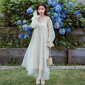 秋季韓版新款小個子超仙網紗連身裙少女心溫柔仙女裙收腰文藝 居享優品