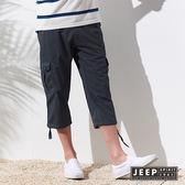 【JEEP】美式經典縮口設計七分褲 (鐵灰色)