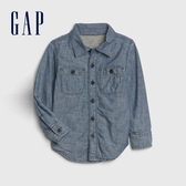 Gap男幼童圓領口紐扣式牛仔長袖襯衫512986-淡雅藍