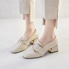 樂福鞋 白色粗跟單鞋女鞋2021新款春季方頭中跟樂福鞋高跟英倫小皮鞋春款