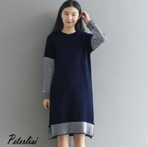 韓版拼接撞色毛衣女針織衫 2137F 彼得麗絲