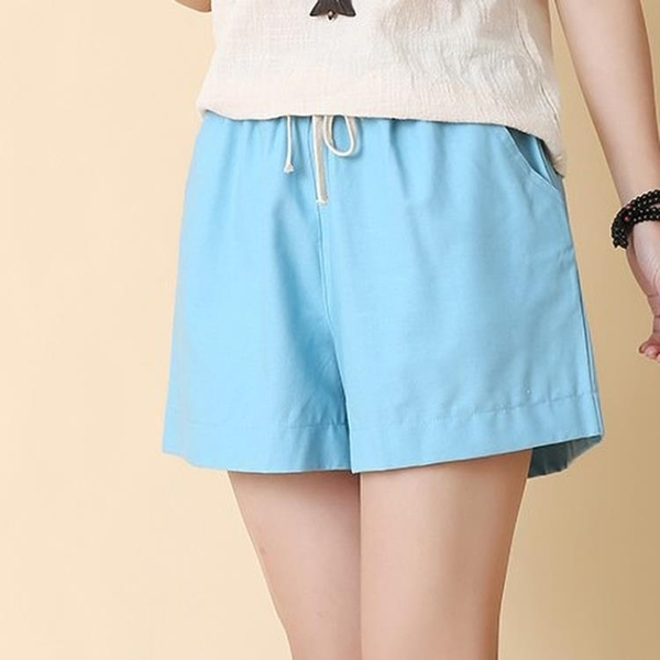 女裝夏季寬鬆大碼亞麻中褲五分褲闊腿休閒褲運動褲子熱褲