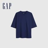 Gap男裝 純棉厚磅純色圓領短袖T恤 662321-深藍色
